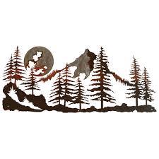 Blackforest Decor Mountain Scene Burnished Metal Wall Art