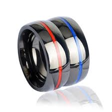 thin blue line wedding band aliexpress buy keisha lena mens firefighter ring stainless