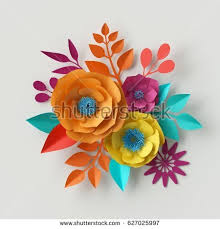 Sping Colors 3d Illustration Vivid Paper Flowers Bright Stock Illustration
