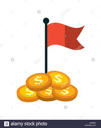 Flag Ideas Gold Coins And Red Flag Icon Over White Background Money Ideas