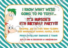 agent p phineas and ferb birthday party invitation by rachellola