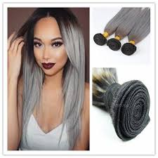 ombre hair weave african american new arrival brazilian ombre silver grey hair weave 1b gray dark