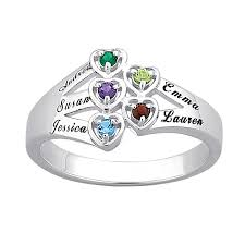 family birthstone rings sterling silver family birthstone hearts name ring 17683