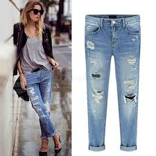 Skinny Jeans With Holes Women Jeans Casual New 2015 Fashion Hole Pencil Skinny Ripped