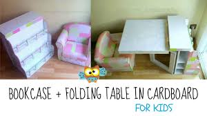 Kids Desk With Bookshelf by Diy Recycling Cardboard Bookcase And Folding Table For Children