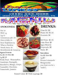 tropic express home san antonio texas menu prices