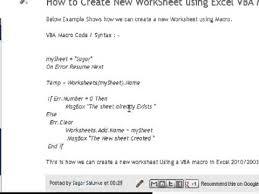 how to create new worksheet using excel vba macro youtube