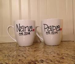 nana and papa hand painted coffee mug personalized with year