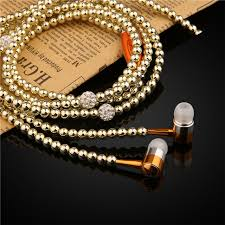 crystal diamond necklace images Luxury crystal diamond pearl necklace chain earphone with mic jpg