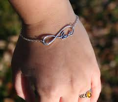valentines day infinity love bracelet bronze or silver