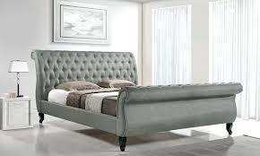 Platform Sleigh Bed Tufted Sleigh Bed Kingfabric King Size Tufted Sleigh Grey