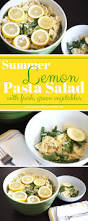 summer lemon pasta salad with fresh green veggies serving this as