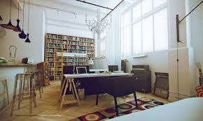 inviting white studio apartments interior with home library