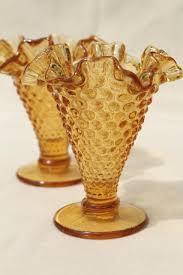 Vintage Orange Glass Vase Vintage Glassware Amber Orange And Gold