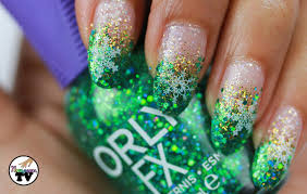 teal green glitter fade with freehand nail art eye candy pretty