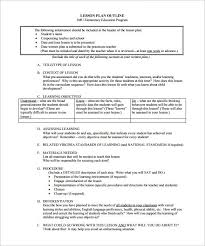 lesson plan outline template u2013 12 free sample example format