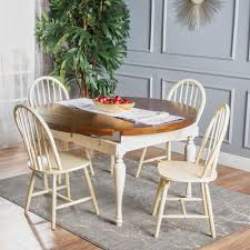 oakley 5 piece dark oak and antique white dining set u2013 gdf studio