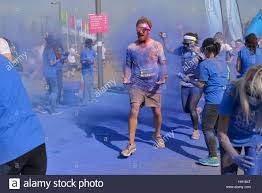 Blue Paints Male Runner Is Covered With Blue Paints In The London Color Run
