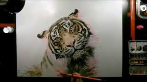 speed drawing tiger watercolor youtube