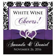 wine bottle bow wedding wine bottle label 1 black and white damask purple ribbon