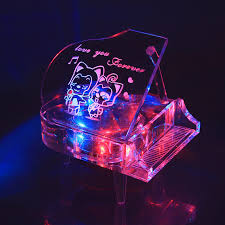 Engravable Music Box Crystal Piano Music Box Luminous Personalized Custom Lettering
