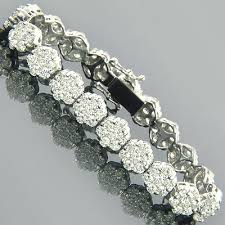 bracelet design diamond images 14k gold cluster designer diamond bracelet 15 40ct jpg