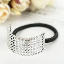 ponytail holder bracelet gold black silver metal hair band cuff rope half circle decoration