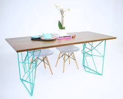 Teal Dining Table Handmade The Yoshi Dining Table Modern Steel Rod Dining Table