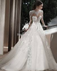 wedding dress lace back and sleeves fashionable high neck white ivory appliques open back bridal