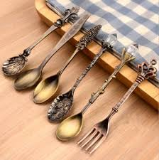 set 6 pcs vintage style dessert fork spoon set dessert fork spoon set for sale