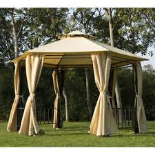 Outdoor Gazebo Curtains 840 081 Outsunny Outdoor Hexagon Gazebo With Insect Screen And