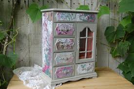 Shabby Chic Jewelry Armoire by Shabby Chic Jewelry Box Armoire Decoupage Grey Pink Teal
