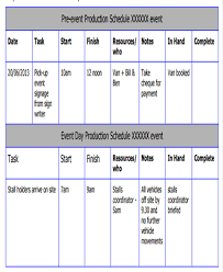 event production schedule template 8 free word pdf format