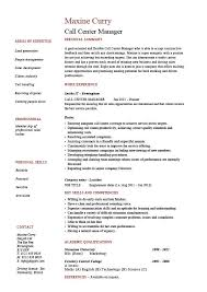 Objective In Resume Example by Call Center Manager Resume Job Description Example Sample