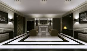 elegant hotel lobby design with recessed ceiling light and white