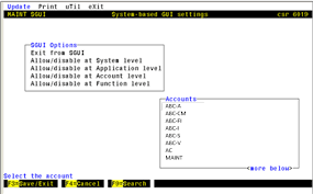sgui in character based mode