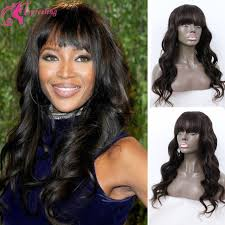 body wave hair with bangs 7a virgin brazilian body wave lace front wig human hair full lace