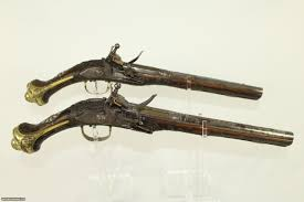Ottoman Guns One Of A Pair Of Large Antique Ottoman Flintlock Pistols