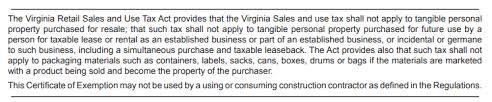 how to use a virginia resale certificate
