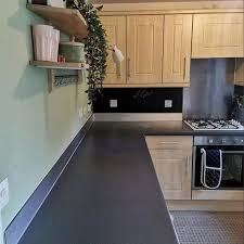 grey kitchen cabinets b q completely revs kitchen for just 65 using sticky