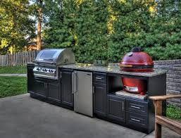 living charming outdoor modular kitchen set featuring black