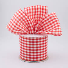 wired ribbon 2 5 gingham check wired ribbon white 10 yards rg01049f3