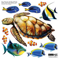 sea turtle home decor sea turtle and reef fish wall decal set bold wall art