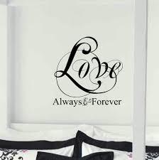 love always forever bedroom wall decor written wall decals love always forever