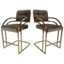 Grey Leather Bar Stool Milo Baughman Burnished Brass Bar Stools In Grey Leather At 1stdibs
