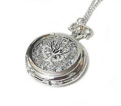 silver watch chain necklace images Tree of life ornate silver pocket watch necklace chain jpg