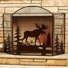 decor steel moose pattren 3 panel fireplace screen for cozy