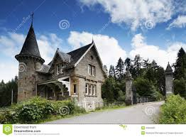 fairytale stone house with bars stock photo image 49584805