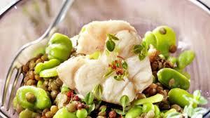 cuisiner roussette recette roussette en salade de fèves et de lentilles cuisiner la