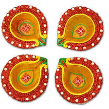 buy diwali diya multicolor small set of 4 free shipping